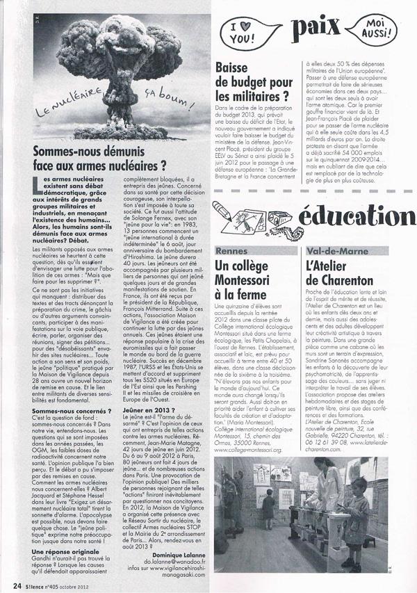 L'Atelier de Charenton en page 24 de 'Silence'