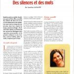 """Mon article """" Des silences et des mots """" pour la revue Non-Violence actualité"""