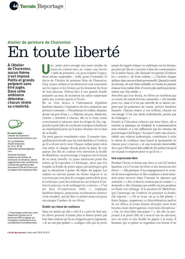 L'Atelier de Charenton : Article, En toute liberté, page 1