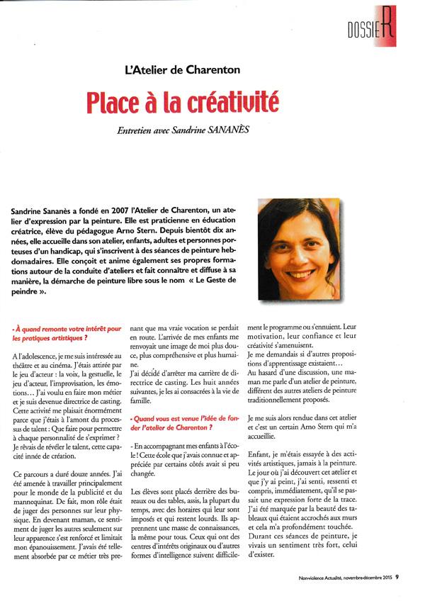 Place à la créativité - Entretien avec Sandrine Sananès