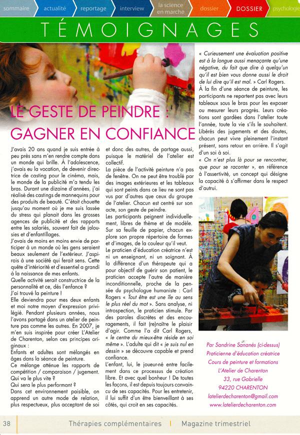 Mon article pour le magazine de l'art de vivre en bonne santé