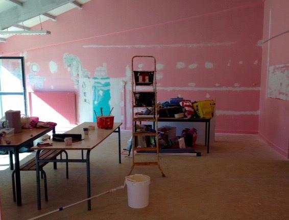 La pièce de l'atelier de peinture