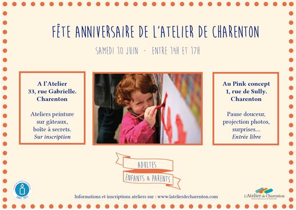 Invitation aux 10 ans de l'Atelier de Charenton
