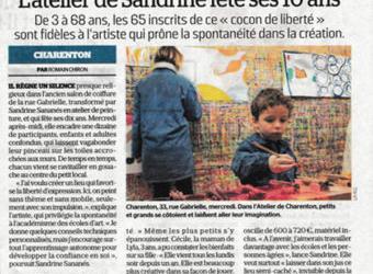 Le Parisien : « L'Atelier de Sandrine fête ses 10 ans »